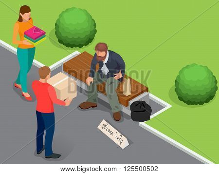 Caring for homeless. Help Homeless. Dirty homeless man holding sign asking for help. Flat 3d isometric vector illustration. Social problem concept. Volunteers design concept