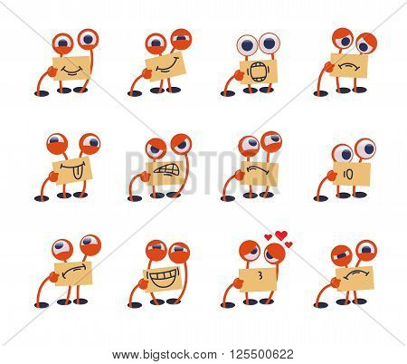 Funny cute monster emoticons set. Big-eyed, one-armed funny monster shows its emotions using drawn mouth.