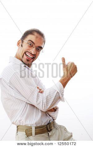 Hombre feliz mostrando los pulgares cartel