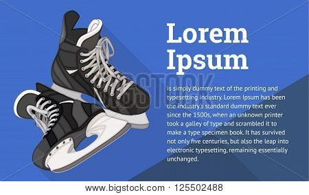 Ice Skates isometric flat vector 3d illustration. Ice Hockey equipment flat vector icon. Ice-skating isometric pictogram.