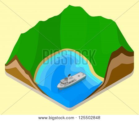 lagoon isometric. coastline vector. relief flat. topography icon. yacht on sea isometric sign. boat near beach flat vector icon. Mountain  isometric flat vector 3d illustration.
