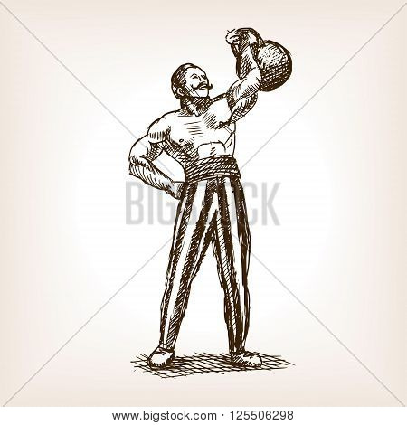 Strong man with kettlebell sketch style vector illustration. Old hand drawn engraving imitation.