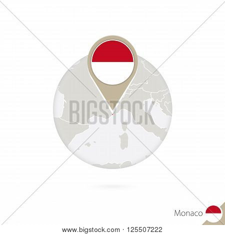Monaco Map And Flag In Circle. Map Of Monaco, Monaco Flag Pin. Map Of Monaco In The Style Of The Glo
