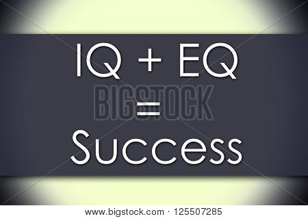 Iq + Eq = Success - Business Concept With Text