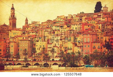 View on old part of Menton, France.  Added paper texture. Toned image