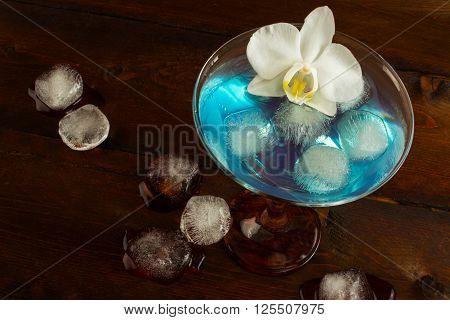 Blue Margarita cocktail top view. Blue cocktail. Blue Martini. Blue Hawaiian cocktail