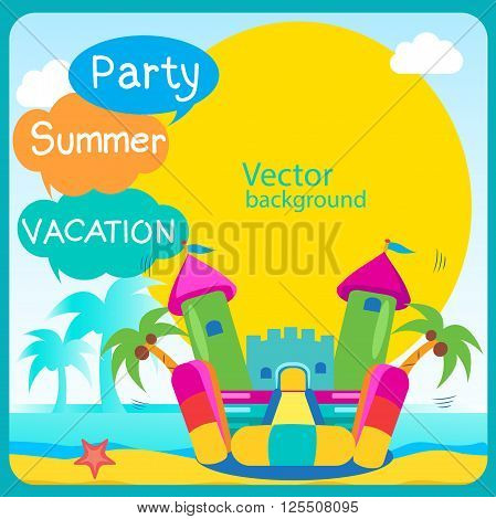 Bouncy Castle. Summer Rest. Bouncy Castle Rental. Bouncy Castle For Sale. Bouncy Castle Commercial. Bouncy Castle For Children. Bouncy Castle For Kids. Active Holidays. Vector Concept Banner.
