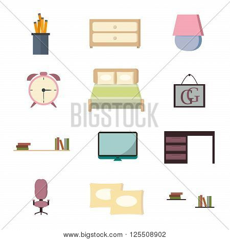 Set bedroom icons interior with furniture flat style vector illustration. Home bedroom icons interior and bedroom icons furniture house. Modern apartment bedroom icons luxury architecture relaxation.