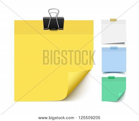 Sticky note paper. Realistic vector illustration of post it paper pieces. Memo, reminder paper.