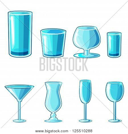 shaped wineglass and glass goblet game element in vector