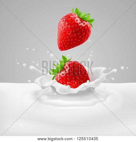 Appetizing strawberries with green leaves falling into milk with splashes