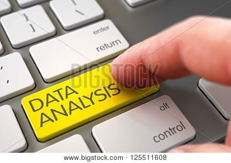 Hand of Young Man on Data Analysis Yellow Key. Data Analysis - Modern Keyboard Key. Finger Pushing Data Analysis Keypad on Laptop Keyboard. Hand Touching Data Analysis Button. 3D.