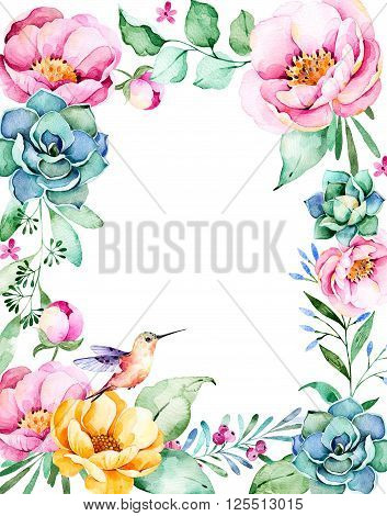 Beautiful watercolor frame border with place for text, roses, flower, foliage, succulent plant, branches, hummingbird.