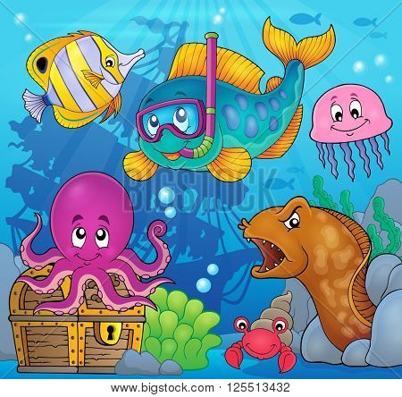 Fish snorkel diver theme image 3 - eps10 vector illustration.