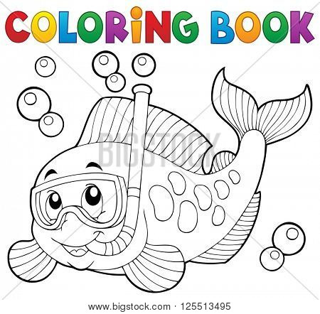 Coloring book fish snorkel diver - eps10 vector illustration.