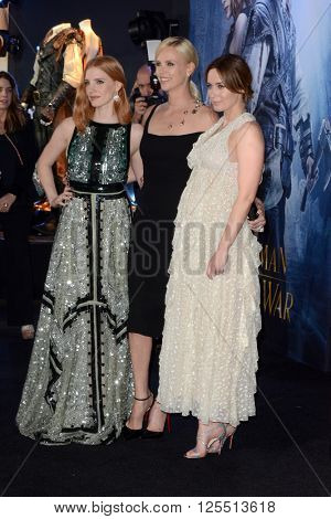 LOS ANGELES - APR 11:  Jessica Chastain, Charlize Theron, Emily Blunt at the The Huntsman Winter's War American Premiere at the Village Theater on April 11, 2016 in Westwood, CA