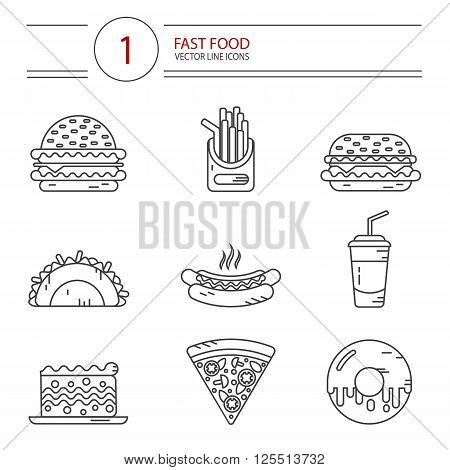 Modern line style vector icons set of fast food, junk food. Tacos, cheeseburger, hamburger, soda, hotdog, donut, french fries, slice of pizza, cake. Isolated on white background.