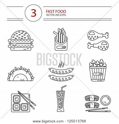 Modern line style vector icons set of fast food, junk food. Tacos, chicken legs, popcorn, cheeseburger or hamburger, soda, hot sausage, french fries and sushi. Isolated on white background.