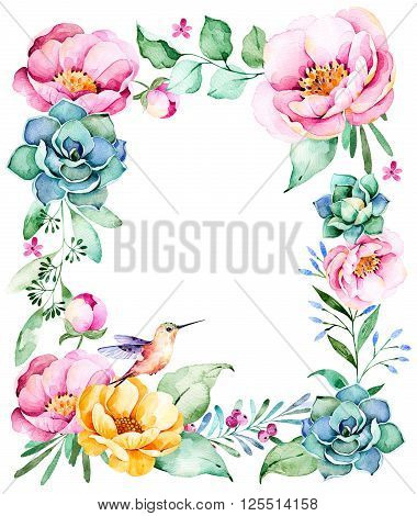 Beautiful watercolor frame border with place for text, roses, flower, foliage, succulent plant, branches, hummingbird