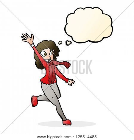 cartoon woman waving dressed for winter with thought bubble