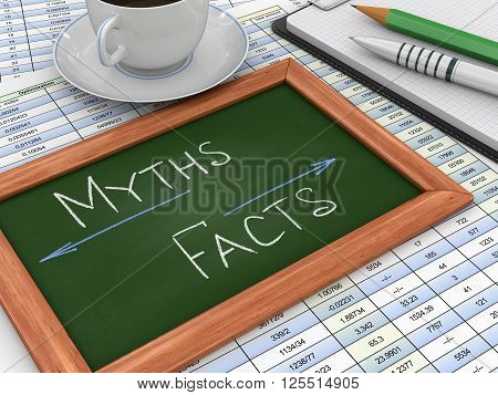 Blackboard with Myths and facts. Three-dimensional Shape
