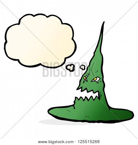 cartoon spooky witches hat with thought bubble