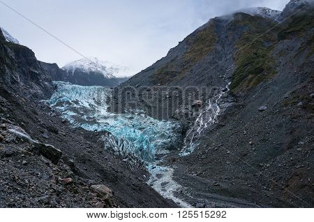 Franz Josef Glacier in Westland National Park on the West Coast of South Island. Southern Alps mountains New Zealand