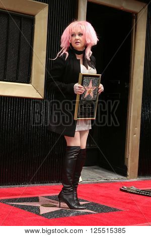 LOS ANGELES - APR 11:  Cyndi Lauper at the Harvey Fierstein and Cyndi Lauper Hollywood Walk of Fame Ceremony at the Pantages Theater on April 11, 2016 in Los Angeles, CA