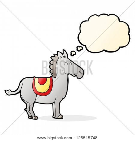 cartoon donkey with thought bubble