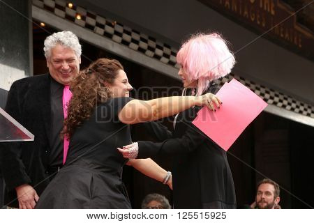 LOS ANGELES - APR 11:  Harvey Fierstein, Marissa Jaret Winokur, Cyndi Lauper at the Harvey Fierstein n Cyndi Lauper Hollywood WOF Ceremony at the Pantages Theater on April 11, 2016 in Los Angeles, CA