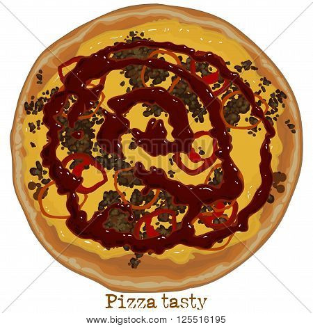 Pizza with sausage tomato and cheese freehand drawing