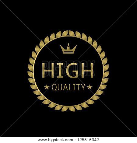 Golden High quality label with crown. Vector illustration