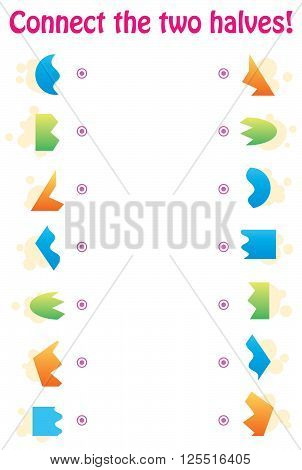 Matching game - connect the two halves of geometric shapes vector