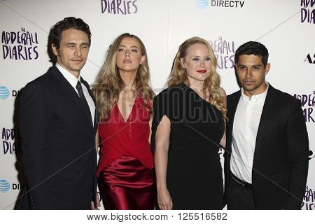 LOS ANGELES - APR 12:  James Franco, Amber Heard, Pamela Romanowsky, Wilmer Valderrama at the The Adderall Diaires Premiere at the ArcLight Hollywood on April 12, 2016 in Los Angeles, CA