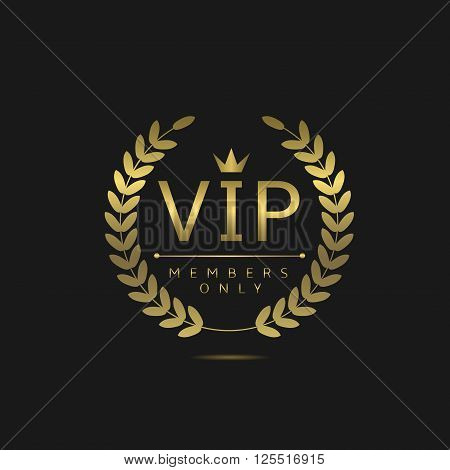 VIP members only. Golden badge on black background, Vector illustration
