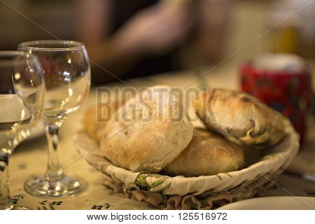 A rustic country chic basket of freshly baked buttermilk biscuits. Shallow dof.