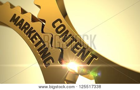 Content Marketing Golden Cog Gears. Content Marketing - Industrial Design. Content Marketing - Illustration with Glowing Light Effect. Content Marketing - Concept. 3D.