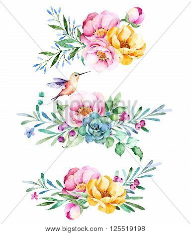 Colorful floral collection with roses, flowers, leaves, succulent plant, branches, hummingbird and more