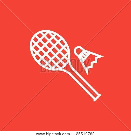 Shuttlecock and badminton racket line icon.