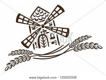 Vector design with cereal and windmill. Decoration for bakers.