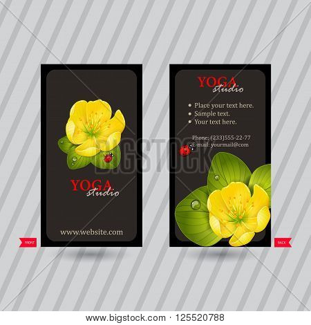 Business card with naturalistic floral composition for yoga studio or club. Vertical template. Ready to use business cards. Business idea for corporate identity