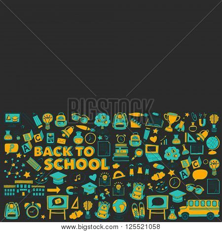 Back to School doodle set. Supplies for Sport Art Reading Science Geography Biology Physics Mathematics Astronomy Chemistry
