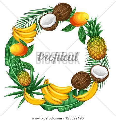 Frame with tropical fruits and leaves. Design for advertising booklets, labels, packaging, menu.