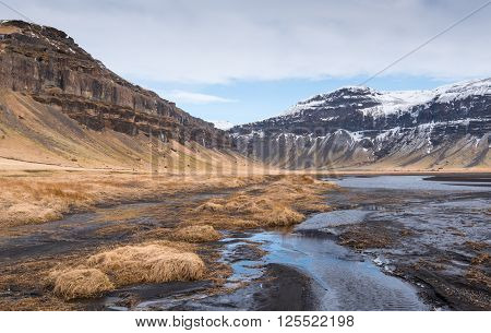 Typical Icelandic mountain landscape in Southeast Iceland with river flowing through mountains
