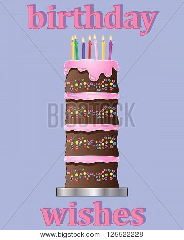 an illustration of a birthday greeting card design with multi layered chocolate cake decorated with pink frosting and colorful candles