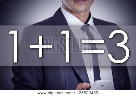 1 Plus 1 Equal 3 - Plus One Free  - Young Businessman With Text - Business Concept