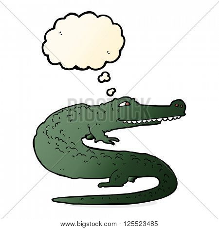 cartoon crocodile with thought bubble