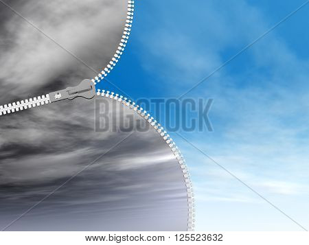 3D illustration concept or conceptual 3D abstract zipper from dramatic dark cloudy sky to a sunny summer blue sky with clouds background