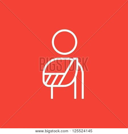 Injured man line icon.
