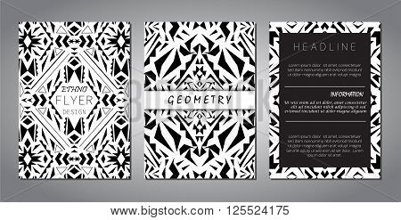 Set of vector geometric black and white brochure templates for business and invitation. Ethnic tribal aztec style. Modern ethno ikat pattern